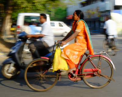 Lady on the bike, India